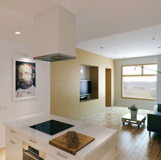 Neutral open plan kitchen living room