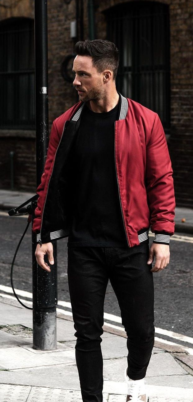 How To Style Your Bomber Jacket 3 Stylish Looks Red Bomber Jacket Men Red Jacket Outfit Black Outfit Men [ 1293 x 621 Pixel ]