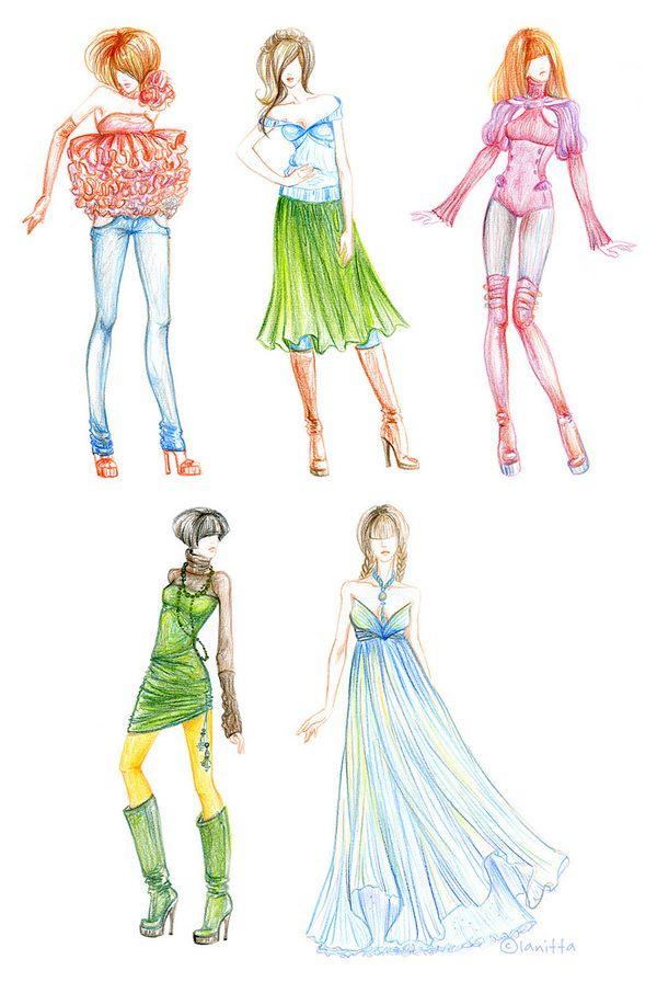 Colored Pencil Drawing Fashion Illustration Listings