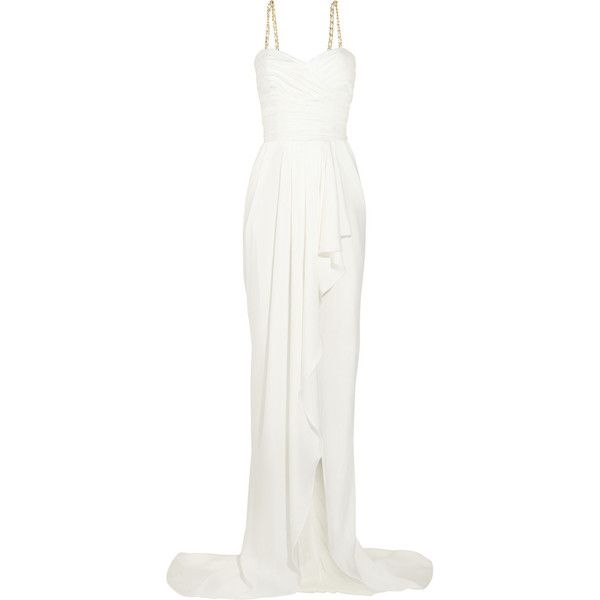 Balmain Ruched silk-satin gown ($2,676) ❤ liked on Polyvore featuring dresses, gowns, long dresses, vestidos, balmain, white, long corset dress, ruched dress, white dress and white fitted dress
