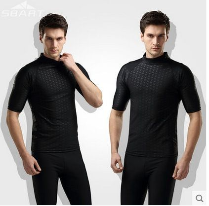 Hot Sale SBART Men Fitness Clothes Rashguard Surfing Diving Tight Swim Short Sleeve Shirts Sharkskin Sport Swim Beach T-shirts