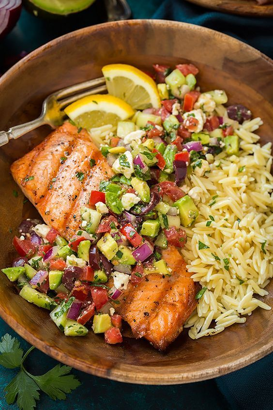 Grilled Salmon with Avocado Greek Salsa and Orzo | Cooking Classy...