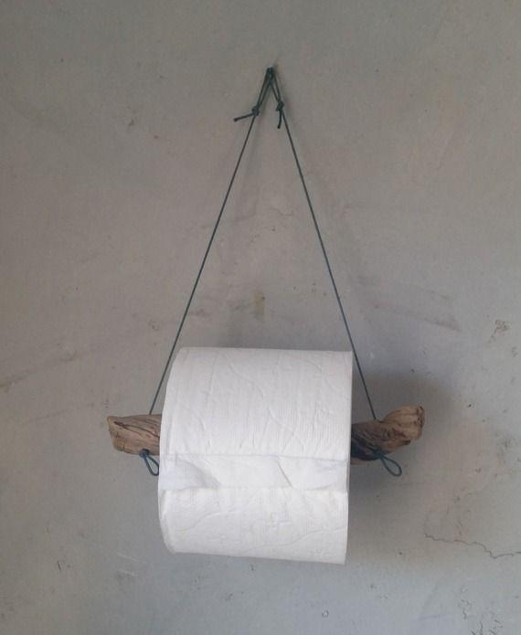 Dévidoir papier toilette en bois flotté, cordon bleu recyclés pour une décoration authentique et épurée