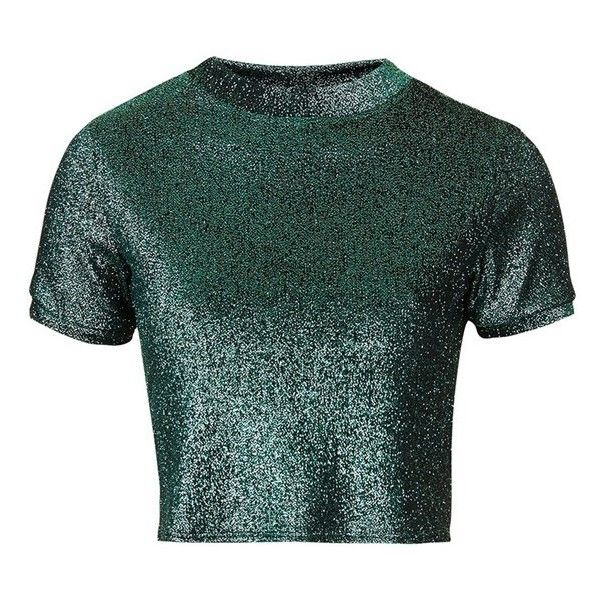 Petite Women's Topshop Metallic Crop Tee ($43) ❤ liked on Polyvore featuring tops, t-shirts, crop tee, green tee, short sleeve t shirt, sparkly tops and short sleeve tee