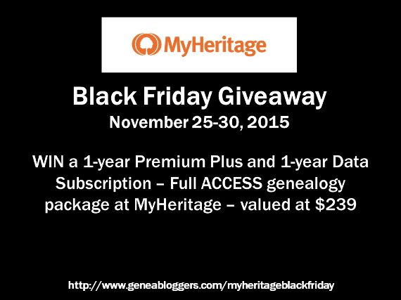 MyHeritage Black Friday Giveaway http://www.geneabloggers.com/giveaways/myheritage-black-friday-giveaway/?lucky=30662 via @geneabloggers