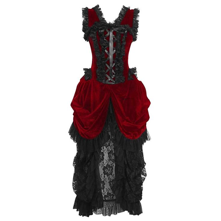 VG London Burlesque fluwelen korset jurk met gedrapeerde kanten rok ma