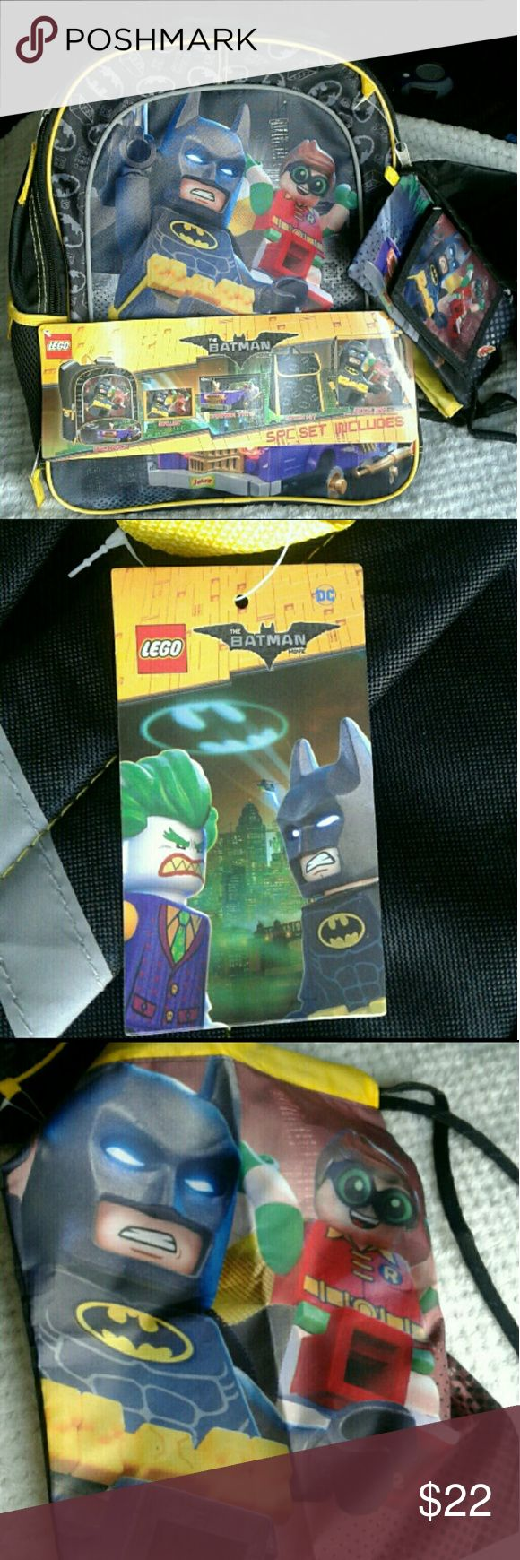Kids 5-Piece Lego Batman Backpack and Lunchbox Set Kids 5-Piece Lego Batman Backpack and Lunchbox Set  Lego Batman and Robin Graphic, also features the Joker   What's Included in the Set:  - Backpack  - Lunch tote  - Wallet  - Carrier Tote  - Cinch Sack   This is from the Lego Batman Movie Set   Brand New With Tags, Never Used and No Flaws  Excellent Condition   Great Gift Idea for Children!  Offers Welcome :) Lego Batman Other