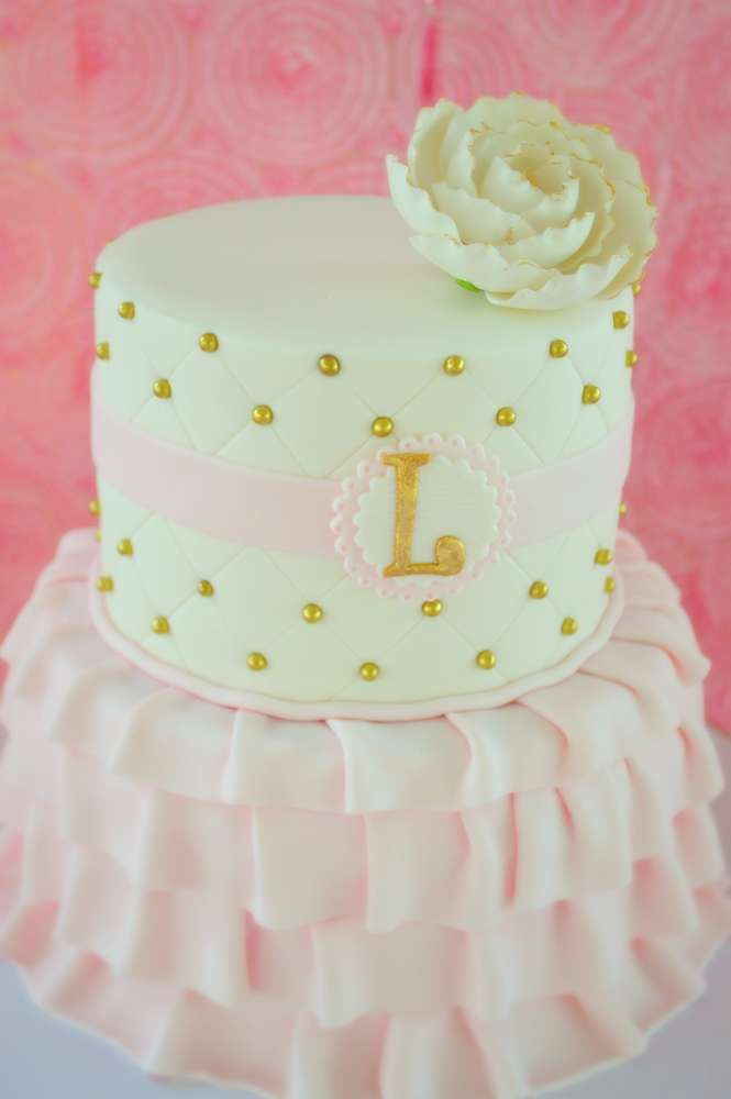Ballet Baby Shower Party cake! See more party planning ideas at CatchMyParty.com!