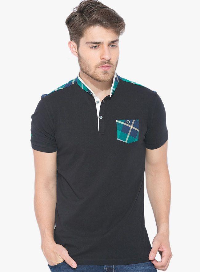 status quo black solid polo t-shirt