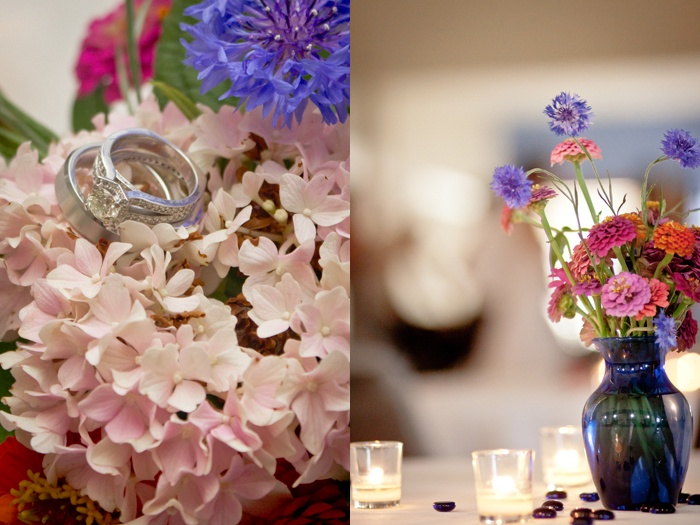 Homegrown floral arrangements gave the reception a beautiful feel!  Photography by Naomi & Samuel Karth © www.thekarths.com
