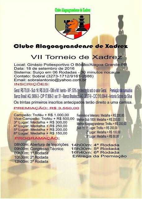 Amanhã no Bodão, 7º Torneio de Xadrez de Alagoa grande. Participem - BLOG DO…