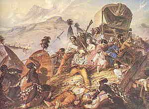 The Bloukrans Massacre. The Voortrekkers at the foot of the Drakensberg had no knowledge of the events of 6th Febr. 1838 (Retief's death). The settlers in Durban knew before the Voortrekkers. One settler was sent to inform them but was shot dead mistakenly by a trekker. Another was dispatched from the port on foot but arrived too late. On that moonless night of 16th Febr. 1838, mainly women and children occupied the camps. By morning, 500 were dead (including 56 women & 185 children).