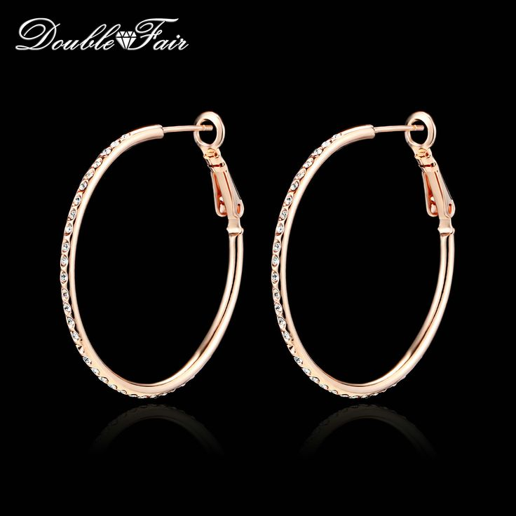Double Fair High Quality Vintage Big Round Stud Earrings For Women Rose Gold Plated New Fashion Jewelry Wholesale DFE307 Brincos