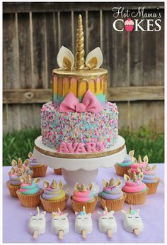 GORGEOUS UNICORN CAKE W CUPCAKES AND POPSICLES