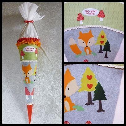 Schultüten - Schultüte mit Fuchs aus Filz und Baumwolle - ein Designerstück von diegeschenkidee bei DaWanda
