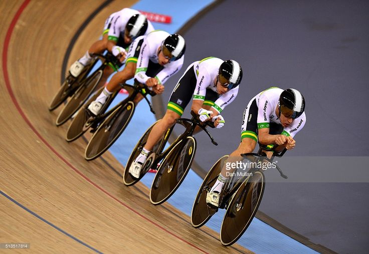The Australian team compete in the Men team pursuit during Day Two of the UCI Track Cycling World Championships at Lee Valley Velopark Velodrome on March 3, 2016 in London, England. #TWC2016 #rm_112