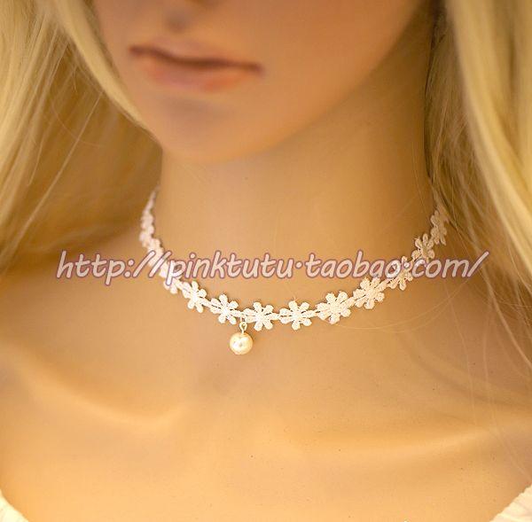 Белое ожерелье кружева женские модели простые жемчужные ожерелья кружева милые принцессы стиль цепь ключицы Дешевые женские модели - Taobao