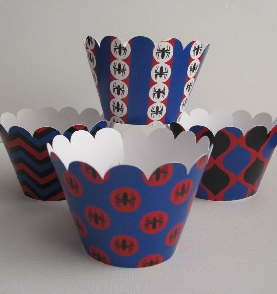 12 Spiderman 1 Standard Cupcake Wrappers by DKDeleKtables on Etsy, $7.95