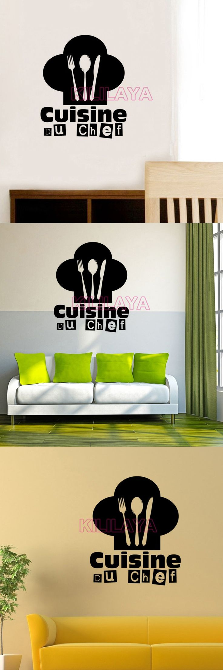 interesting stickers french cuisine du chef vinyl wall. Black Bedroom Furniture Sets. Home Design Ideas