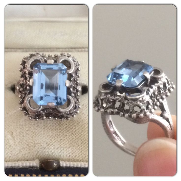 #1970s blue #topaz #silver ring - available soon, holla if you're interested! #vintageprettythings #vintage #retro #ecochic #recycle #recycledglamour #eco #vintagepinterest #ringsofpinterest