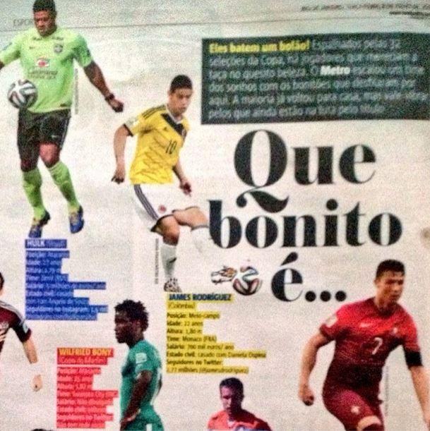 Nuestro @jamesrodriguez10 siempre en el #DreamTeam de los mejores diarios acá en #Brasil bravoooo