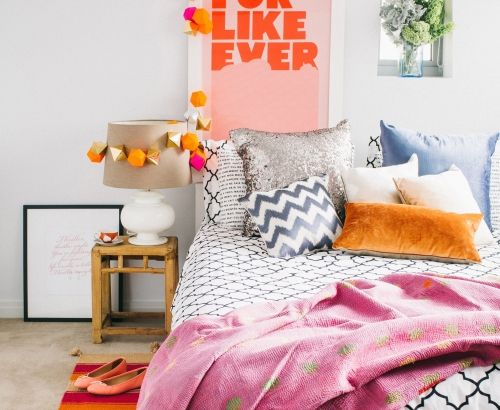 Relaxed, colourful bedroom, lots of pattern adds texture to this cosy look