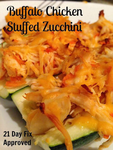 Spoonful at a Time: Buffalo Chicken Stuffed Zucchini - 21 Day Fix Approved!