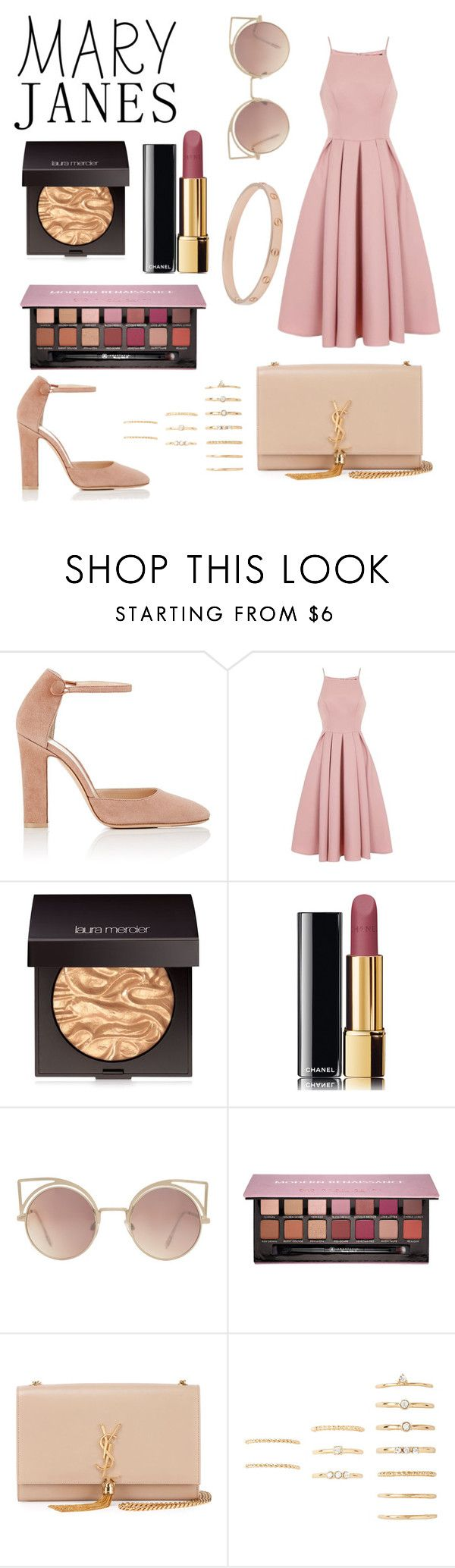 """""""Mary Janes"""" by thenamesmames ❤ liked on Polyvore featuring Gianvito Rossi, Chi Chi, Laura Mercier, Chanel, MANGO, Anastasia Beverly Hills, Yves Saint Laurent, Forever 21, Cartier and contest"""