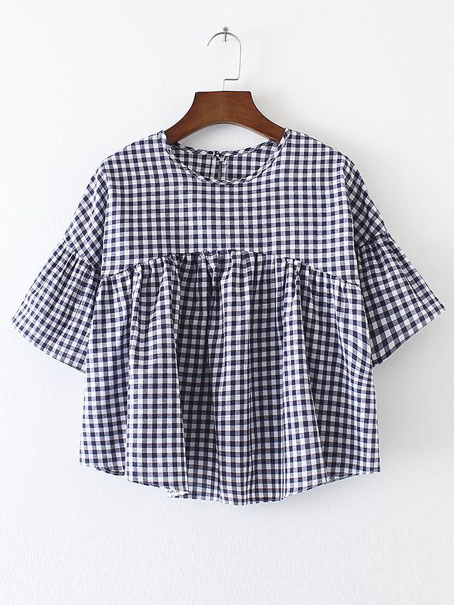 Buy Bell Sleeve Gingham High Waist Top from abaday.com, FREE shipping Worldwide - Fashion Clothing, Latest Street Fashion At Abaday.com
