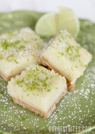 Creamy Lime/Lemon Bars - A HIT!  Made them with lemon juice & zest and they were delicious!  Kids called them better than any other lemon bars I've baked.