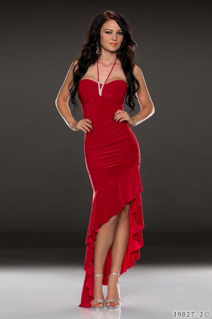 Rode bandeau jurk, a-symetrisch met strass detail