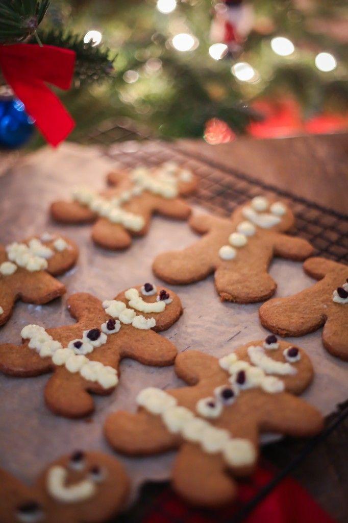 Paleo Gingerbread Cookies - made with almond flour, arrowroot flour, salt, baking soda, cloves, cinnamon, nutmeg, ginger, maple sugar, molasses, and coconut oil