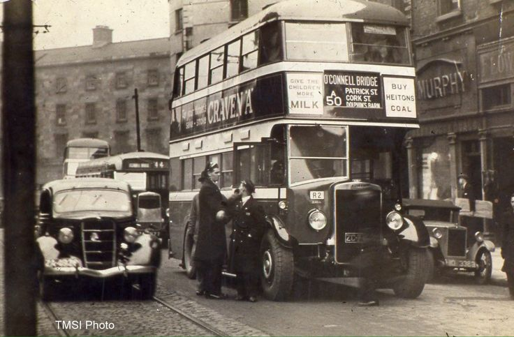 One if Dublin's first double deckers as seen on D'Olier Street, 1930s