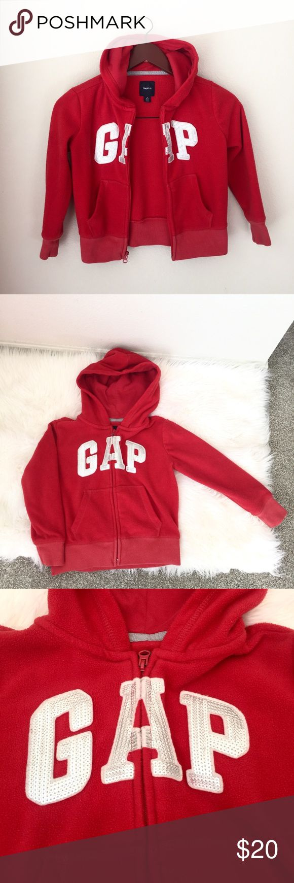 """[GAP] Red Fleece Hooded Jacket Girls Size Small Gap red fleece girls full zip jacket. Size small (6-7). Hooded, stretch waistband.   Made up of:  Shell: 100% Polyester  Lining: 60% Cotton, 40% Polyester   Measured flat and approximately:  Length: 17"""", Underarm to Underarm: 16"""".  Great Condition!  K30 GAP Jackets & Coats"""