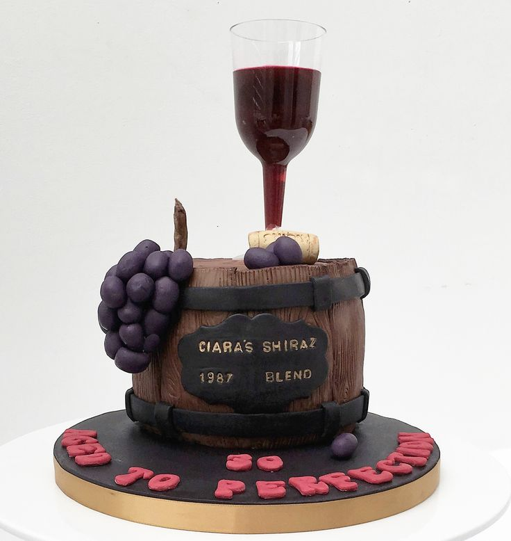 Wine barrel cake with grapes and glass. The Cake Lab Bakery, Ranelagh, Dublin, Ireland. Artisan Baking Studio.