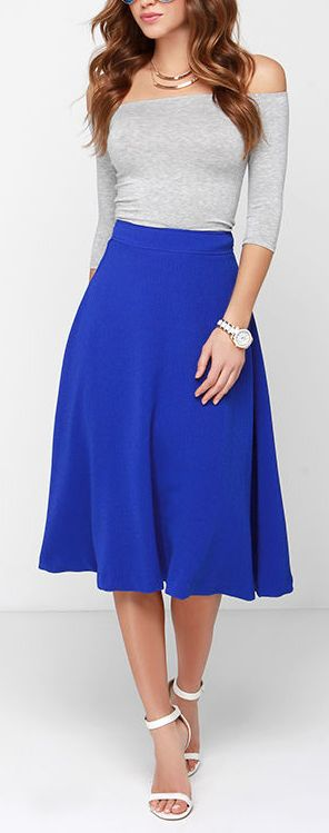 cobalt blue midi skirt/ really wanna try this style