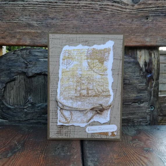 Nautical Retirement Card Handmade Hand Stamped Natural