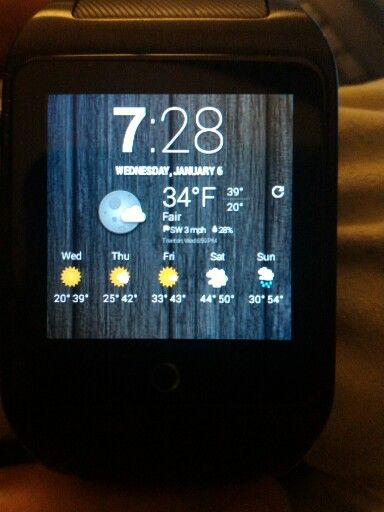 inWatch Z 3G rooted, running stock kitkat. Pure android not android wear with sim card (am actually getting 3g on the thing w/tmobile usa) and 1gb of ram. This is the Chronus weather widget. I am trying to port over android wear watch faces with no lick. Best pure android watch around.   www.inwatchusa.com