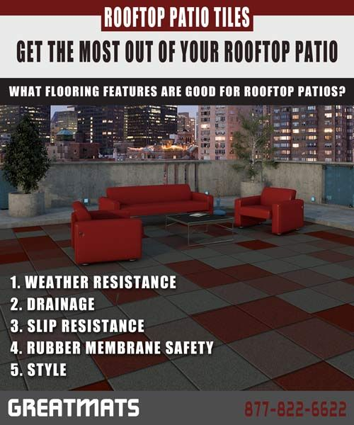 Review your flooring options for a rooftop patio. Rooftop flooring should be safe for your rubber roof membrane. #rooftop #patio