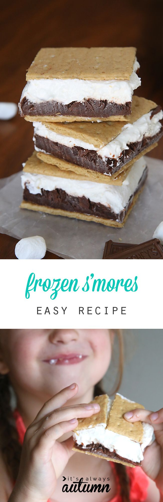 Frozen s'mores! Layers of chocolate pudding and marshmallow cheesecake…