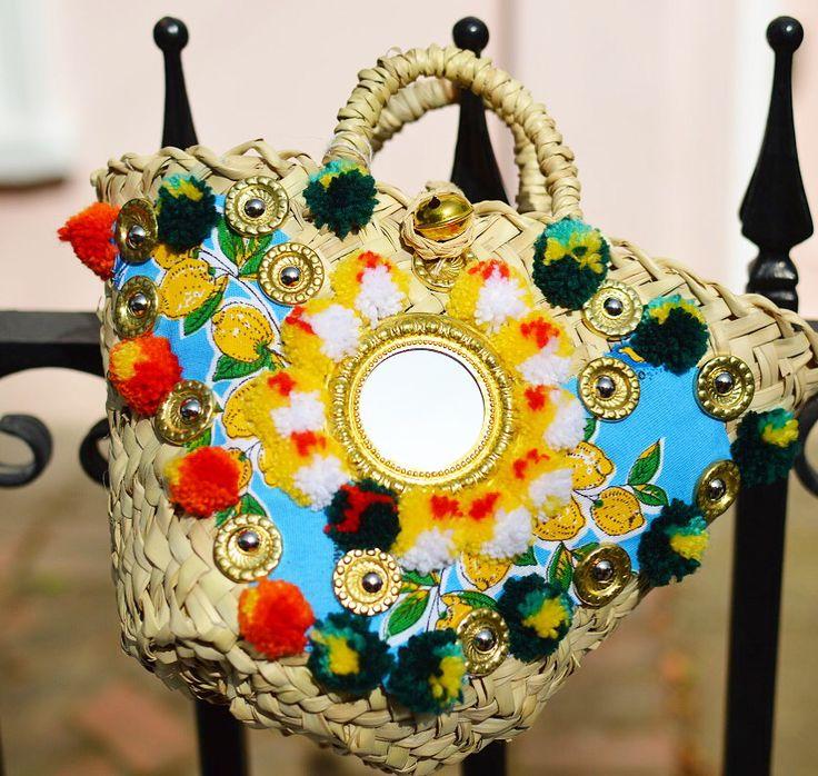 Limincello Sicily Bag. Sicilian straw Coffa bag adorned with lemons Shop all styles on Sicilybag.com