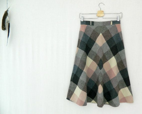 TAMMY . vintage women's a-line check skirt . by ThePaisley5Vintage