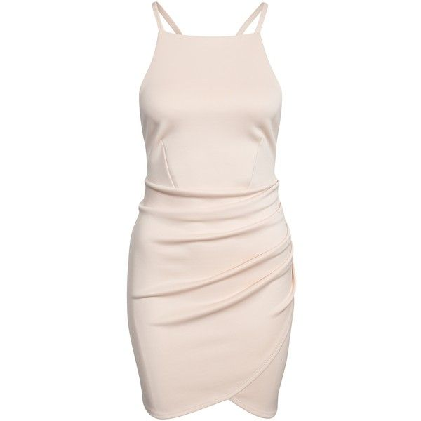 Nly One Cross Strap Mini Dress ($50) ❤ liked on Polyvore featuring dresses, vestidos, beige, party dresses, womens-fashion, pink wrap dress, wrap dress, short wrap dress, pink cocktail dress and pink bodycon dress