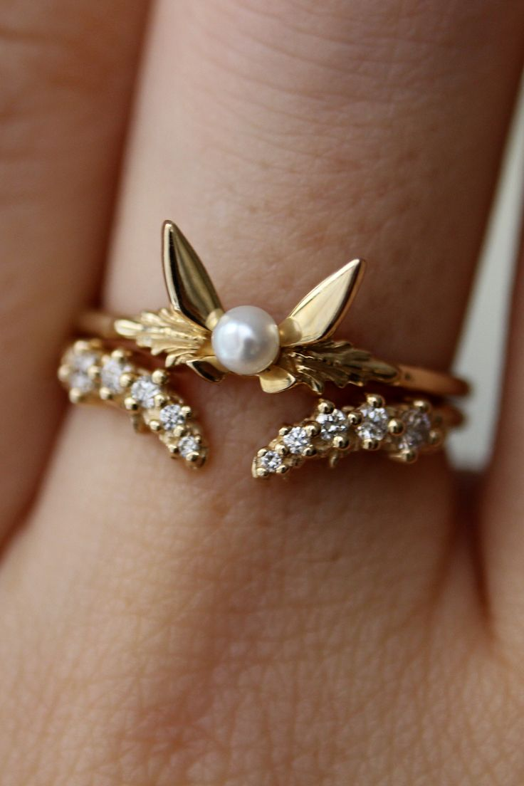 The Fairy Companion Ring and the Band of the River look so good stacked together