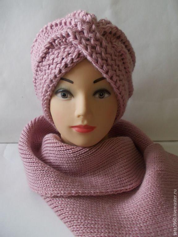 Купить Вязанная шапка-чалма женская - фуксия, рисунок, вязаная шапочка, шапка женская, для девушки