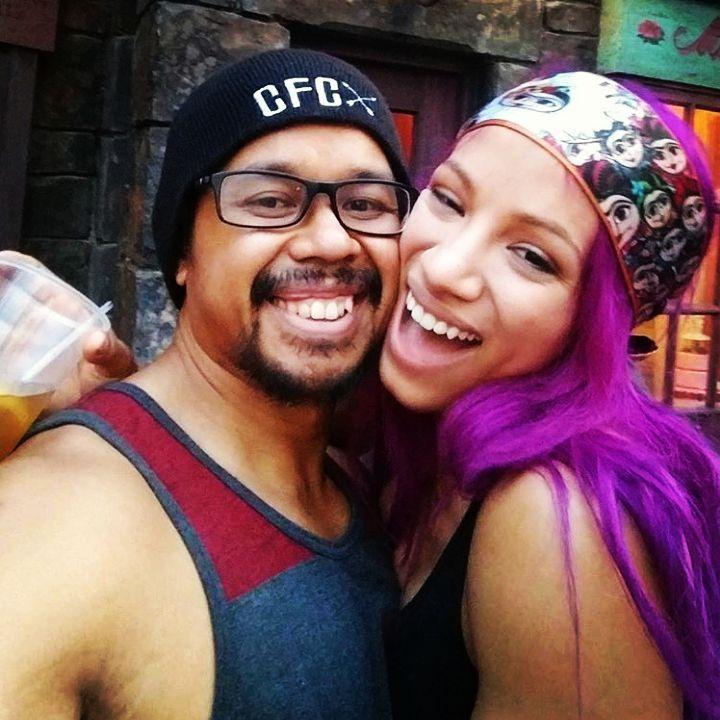 WWE Superstar Sasha Banks (Mercedes Kaestner-Varnado) and her husband Sarath Ton (Kamikaze Mike) #WWE #TotalDivas #wwecouples