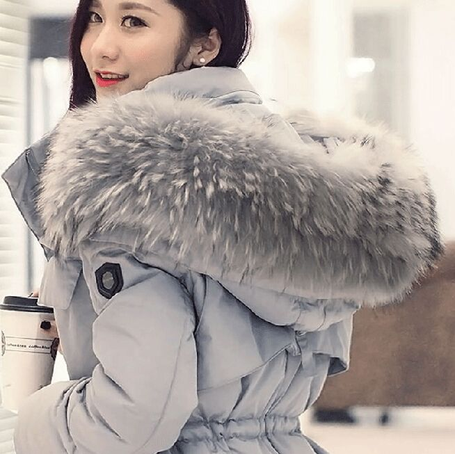 2015 winter new fashion womens down coat with big raccoon fur collar thick warm outerwear coats plus size for women dropship