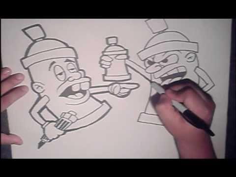 Cool Cartoon Drawings of Graffiti Spray Cans Inspires me!