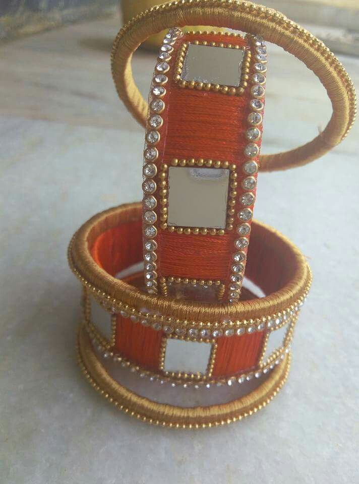 stones n mirrors on silk thread bangles