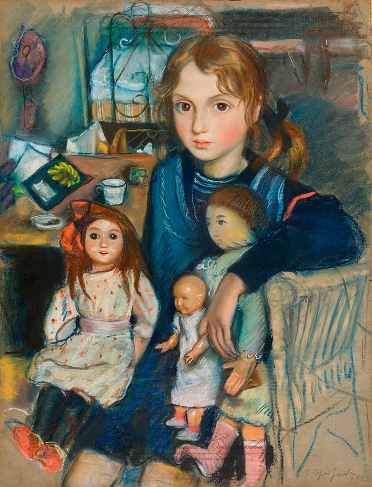 "Зинаи́да Евге́ньевна Серебряко́ва (Zinaida Serebriakova), ""Дочка Катя с куклами"" (""Daughter Katya with Dolls"")"